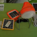 A collection of solar lights, solar chargers and solar batteries presented by the Sunlar Solar stall.