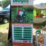 town, and a biogas banner promoting the stall at the agricultural show.