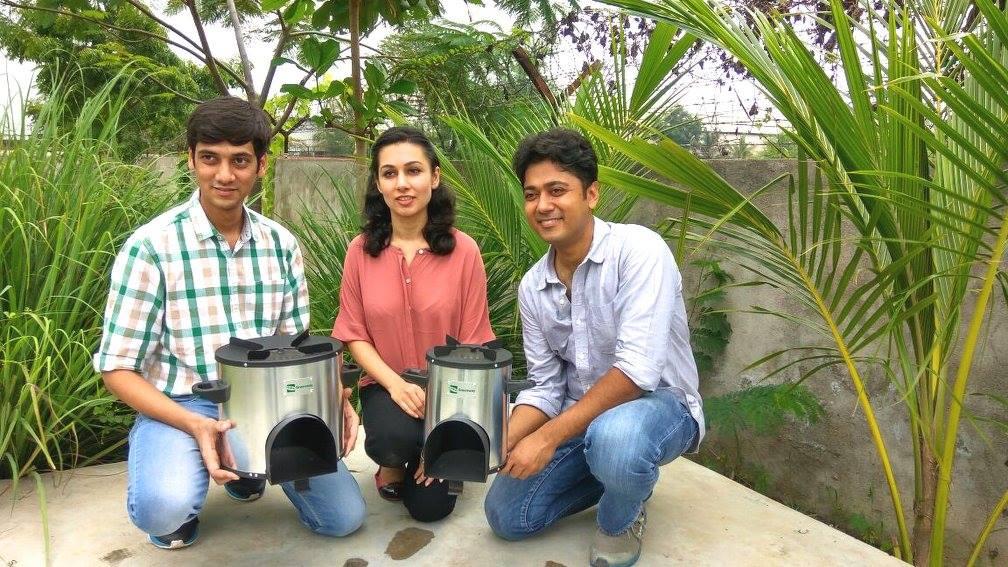 Shoeb Kazi Neha Juneja and Ankit Mathur of Greenway Appliances with their clean cookstove